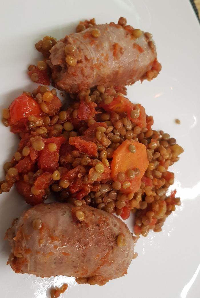 Salsicce con Lenticchie (sausages with lentils)